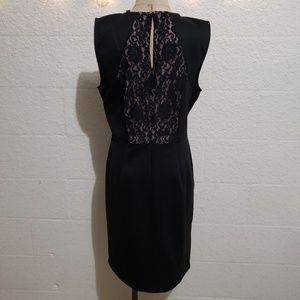 BCBGMaxAzria Dresses - BCBGMaxAzria Black w Nude Lace Peek Bodycon Dress